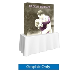5ft x 5ft Embrace Backlit 2X2 Light Display - Single Sided Graphic Only. Portable tabletop displays and exhibits. Several different styles are available, including pop up frames with stretch fabric or fold up panels