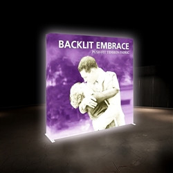 7,5ft Embrace Backlit 3X3 Light Display - Single Sided. Portable tabletop displays and exhibits. Several different styles are available, including pop up frames with stretch fabric or fold up panels