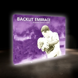 12ft Embrace Backlit 4X3 Light Display - Single Sided. Portable tabletop displays and exhibits. Several different styles are available, including pop up frames with stretch fabric or fold up panels