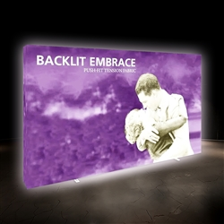 12.5ft Embrace Backlit 5x3 Light Display - Single Sided. Portable tabletop displays and exhibits. Several different styles are available, including pop up frames with stretch fabric or fold up panels