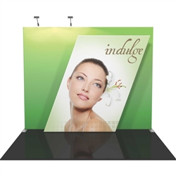 "Vibe Kit 03 Tension Fabric Displays includes 2 120 watt floodlights, 2 OCL wheeled, molded cases, weight 110 lbs, 117.5""w x 96""h x 27""d.  The next generation in large graphic presentation."