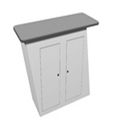 The vibe counter 03 is an excellent addition to a variety of backwall displays and exhibits. Use this sturdy, stand alone counter in a variety of situations to display your products and literature as well as house items inside two locking doors.