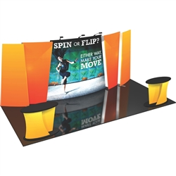 Flip 20' Tension Fabric Display Kits. FLIP™ 20ft exhibits incorporate layered, staggered walls that are connected to create a unique, dimensional and versatile display.
