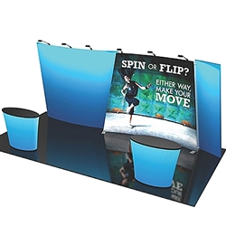 Flip 20ft Tension Fabric Display Kits. versatile. Multi-layered 10ft x 20ft backwall, frame includes 2 OCE cases, counters and lighting NOT included in kits, for spin option, requires double-sided graphics for flip option, requires 2 sets of graphics