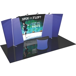 Flip 20ft Tension Fabric Display Kits. FLIP 20ft exhibits incorporate layered, staggered walls that are connected to create a unique, dimensional and versatile display. For spin option, requires