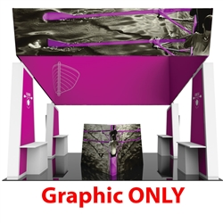 Formulate Fusion 11 Graphic Only features structures that combine the latest developments in fabric printed technology with heavy-duty aluminum frames to create a space that fosters great traffic flow and conversation areas. The 12ft tall center fabric to