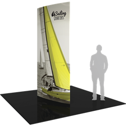 10ft Formulate Shield Fabric Graphic Towers are highly effective 360-degree media enabling you to present a wide variety of solutions. Tower stretch fabric tower structures are designed to impress in in lobbies, showrooms, retail and other venues.