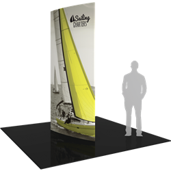 12ft Formulate Shield Fabric Graphic Towers are highly effective 360-degree media enabling you to present a wide variety of solutions. Tower stretch fabric tower structures are designed to impress in in lobbies, showrooms, retail and other venues.