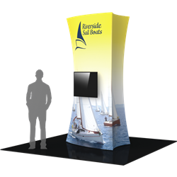 10ft Formulate Fabric Tower 01 with Monitor Mount are highly effective 360-degree media enabling you to present a wide variety of solutions. Tower stretch fabric tower structures are designed to impress in in lobbies, showrooms, retail and other venues.