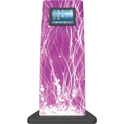 Formulate iPad Tablet Kiosk 04 Stand with Graphic. Formulate iPad Stands are a series of banner displays that incorporate either a TV Monitor, iPad Tablet or both.  The popularity of incorporating an iPad or TV monitor into a trade show booth has increase