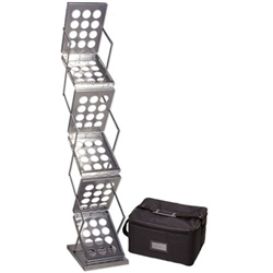 Silver ZedUP 1 Silver Collapsible Literature Rack Display comes complete with its own handy carrying bag or with an optional Hard Shipping Case. Folding Literature Racks, or collapsible literature racks are a breeze to set up without any tools required.
