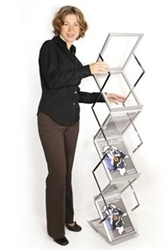 Literature Display Racks ZedUp Lite, Single Wide, Collapsible, 6 Pocket, Silver, Includes Hard Case. A light-weight version of the superb ZedUp product.