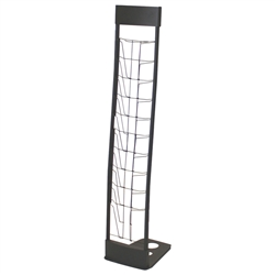 Innovate Black Literature Rack Display 10 pockets and steel construction makes the 10UP literature rack a solid workhorse. Easy to assemble the 10UP literature rack has a folding foot that collapses. Best literature stands for trade shows