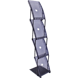 Quantum Single Sided Literature Rack. Quantum is a four-pocket single-sided durable plastic literature display. Unbeatable when shipping space is an issue. Holds standard 8.5in x 11in literature, with 8 pockets. Carry bag included.
