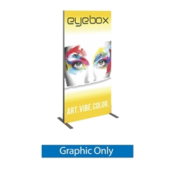 Single Sided Graphic for 6ft x 3ft Vector Frame 02-R Display. Vector Frame 02-R Backwall Display is an indoor aluminum extrusion frame system. Each kit includes extruded aluminum frame, feet, assembly tool, single side dye sublimated fabric graphic.