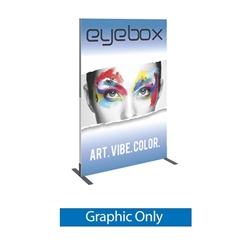 Single Sided Graphic for 4ft x 6ft Vector Frame Rectangle 03 Display. This is an indoor aluminum extrusion frame system. Each kit includes extruded aluminum frame, feet, assembly tool, single side dye sublimated fabric graphics, and hard case