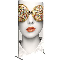 4ft x 8ft Vector Frame Rectangle 04-R Display with Double Sided Graphic is an indoor aluminum extrusion frame system. Each kit includes extruded aluminum frame, feet, assembly tool, single side dye sublimated fabric graphics, and hard case