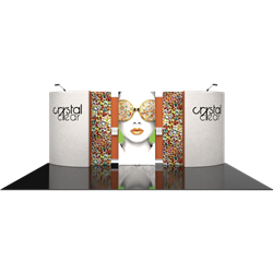 20ft x 10ft Vector Frame Master Modular Backwall  - great free-standing Backwall Fabric booth for 20x10 trade show space. Vector Frame Backwall Kit is an easy to setup trade display solution that offers a clean, simple backwall design