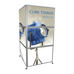 24in w x 36in h each side 2 Silver Snap Frames Cube Tower with Wheel Kit and their shape allows for a seamless display of multiple graphics on all sides. Make your next Trade Show Exhibits successful beyond expectation with Snap Frames Cube Tower Displays