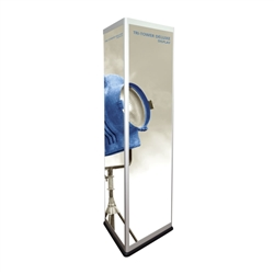 72in h x 26.75 in w Tri-Tower Deluxe Triangular Tower Display Hardware Only is a free-standing triangular trade show display tower. Make your next Trade Show Exhibits successful beyond expectation with Tri-Tower Deluxe Triangular Tower Display
