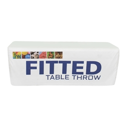4ft Fitted Dye Sub Table Throw- Stylish and elegant, table throws professionally present your company image at events and trade shows. These premium quality polyester twill table throws are easy to care for and can be easily washed. The stain and wrink