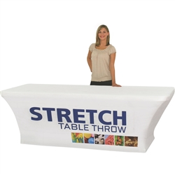 4ft Stretch Dye Sub Table Throw - Stylish and elegant, table throws professionally present your company image at events and trade shows. These premium quality polyester twill table throws are easy to care for and can be easily washed. The stain and wrinkl