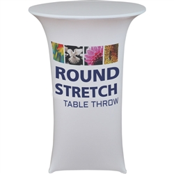 30x30 Round Premium Dye Sub Table Throw Stretch Graphic - Stylish and elegant, table throws professionally present your company image at events and trade shows. These premium quality polyester twill table throws are easy to care for and can be easily wash