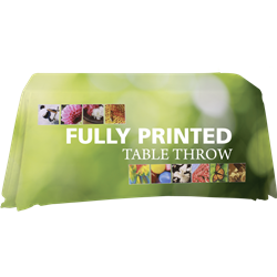 4ft Fully Printed Table Throw Economy- Blank- Stylish and elegant, table throws professionally present your company image at events and trade shows. These premium quality polyester twill table throws are easy to care for and can be easily washed. The stai