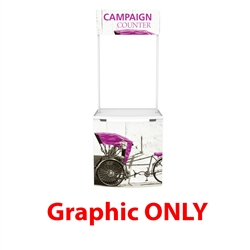 Campaign Promotional Counter (Header Graphic Only) for events and trade show. Campaign indoor and outdoor road show promotional counter comes with a handy carry bag, set of poles and an eye catching header, ideal solution for retail promotion.