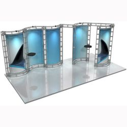 This 10 x 20 custom trade show truss system will help you stand out at the next trade show, drawing attention from across the exhibit floor.  Truss exhibits are one of the most structurally elaborate trade show displays.  They are popular with exhibitors