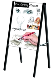 22in x28in Aluminum Folding Silver A Frame Signholder, Portable A-Frame & Sidewalk Signs. Curb Signs and A-Frame Signs - Wide selection of Sandwich, Sidewalk, Markerboard signs. xyzDisplays is your best source for outdoor signs and stands.