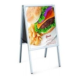 22in x 28in Perfex Aluminum Folding Silver A Frame Signholder. Perfect for exhibits, retail, restaurants, trade shows and malls. Promote your business with these sidewalk signs, real estate signs and A-frame signs.