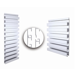 12.25in x 60in Bulk Single Sided Aluminum Slatwall  is the next generation tool for storage, organization and display. The horizontal slatwall panels in Aluminum finish from Store Supply Warehouse will add a modern touch to your retail store display.