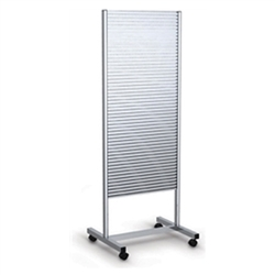 25in x 70in Aluminum Portable Slatwall Stand Two-Sided for the Exhibit and P.O.P Industries, Retail, Factory, Garage & More. These sleek, anodized aluminum Slatwall Stands from Testrite are a sharp, modern display solution for any trade fair exhibition