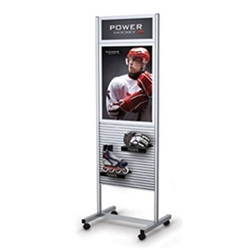 25in x 79in  Portable Slatwall Stand Two-Sided with Frame for the Exhibit and P.O.P Industries, Retail, Factory, Garage & More. These sleek, anodized aluminum Slatwall Stands from Testrite are a sharp, modern display solution for any trade fair exhibition