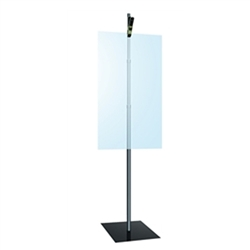 Single Sided Black Clamp Stand 3 Section 36in - 96in Telescopic 12in Square Base Plastic Clamp Sign and Graphic Floor Stands. Promote your business with floor stand sign holders, pedestal signs and interior poster holders.