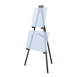 Convention, trade show & hotel 5ft Black Anodized Easel Displays 3 Sets of Chart Holders. Many different types of artist easels, lightweight aluminum easels, superior strength steel easels. Easels are used as a vertical, and sometimes horizontal