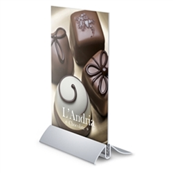 5.5in x 7in Arctop Upright Base Silver SignHolders. Wide selection of countertop sign holders including metal tabletop sign holders, tabletop frame stand, aluminum countertop sign holders, tabletop frames, countertop swivel tilting frame stand.