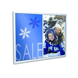 EasyOpen  Black Snap Frame designed to get your marketing message noticed on the trade show or retail floor. These store displays hold 8in x 10in custom graphics that are easy to replace & update.
