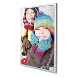 SupraSlim Silver Snap Frame designed to get your marketing message noticed on the trade show or retail floor. These store displays hold 8in x 10in custom graphics that are easy to replace & update.