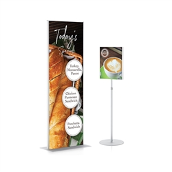 Magnetic Receptive Signware Sample Stand - White designed to get your marketing message noticed on the trade show or retail floor. These store displays hold 8.5in x 11in custom graphics that are easy to replace & update.