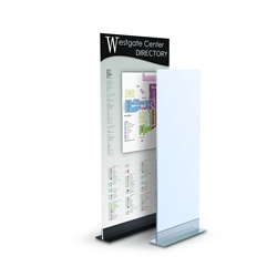 Double LL Mount designed to get your marketing message noticed on the trade show or retail floor. These store displays hold 14in custom graphics that are easy to replace & update.