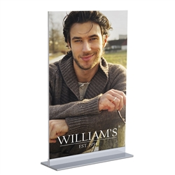 CounterTop Double LL Mount designed to get your marketing message noticed on the trade show or retail floor. These store displays hold 11in custom graphics that are easy to replace & update.