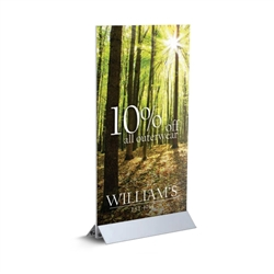 Mini Mightee designed to get your marketing message noticed on the trade show or retail floor. These store displays hold 12in custom graphics that are easy to replace & update.