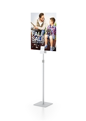 Clamp Stand Telescopic Single designed to get your marketing message noticed on the trade show or retail floor. These store displays hold 15in x 24in custom graphics that are easy to replace & update.