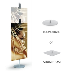 Clamp Stand 2 Sect 11 Rd Base Clamp designed to get your marketing message noticed on the trade show or retail floor. These store displays hold  custom graphics that are easy to replace & update.