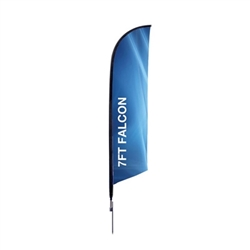 Outdoor promotional flag stands get your message noticed!  Custom printed 7ft  single-sided Falcon outdoor flags are perfect for retail stores, car dealerships, fairs, expos, trade shows and more to grab customer attention.