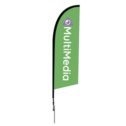 Outdoor promotional flag stands get your message noticed!  Custom printed 8.25ft  single-sided Falcon outdoor flags are perfect for retail stores, car dealerships, fairs, expos, trade shows and more to grab customer attention.