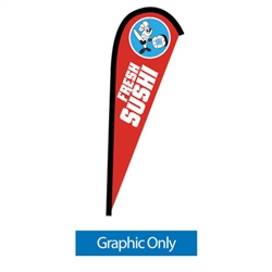 Outdoor promotional flags get your message noticed!  Custom printed 7.5ft Sunbrid single-sided Teardrop outdoor flags are perfect for retail stores, car dealerships, fairs, expos, trade shows and more to grab customer attention.