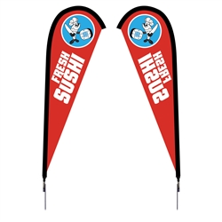Outdoor promotional flag stands get your message noticed!  Custom printed 7.5ft Sunbrid double-sided Teardrop outdoor flags are perfect for retail stores, car dealerships, fairs, expos, trade shows and more to grab customer attention.